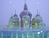 Ice Sculpture Building in Harbin