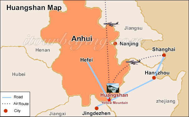 Huangshan map map of china huangshan and city maps huangshan location map huangshan tour gumiabroncs Image collections